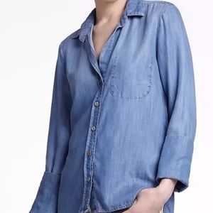 Anthropologie Elevenses Chambray Top Size XS